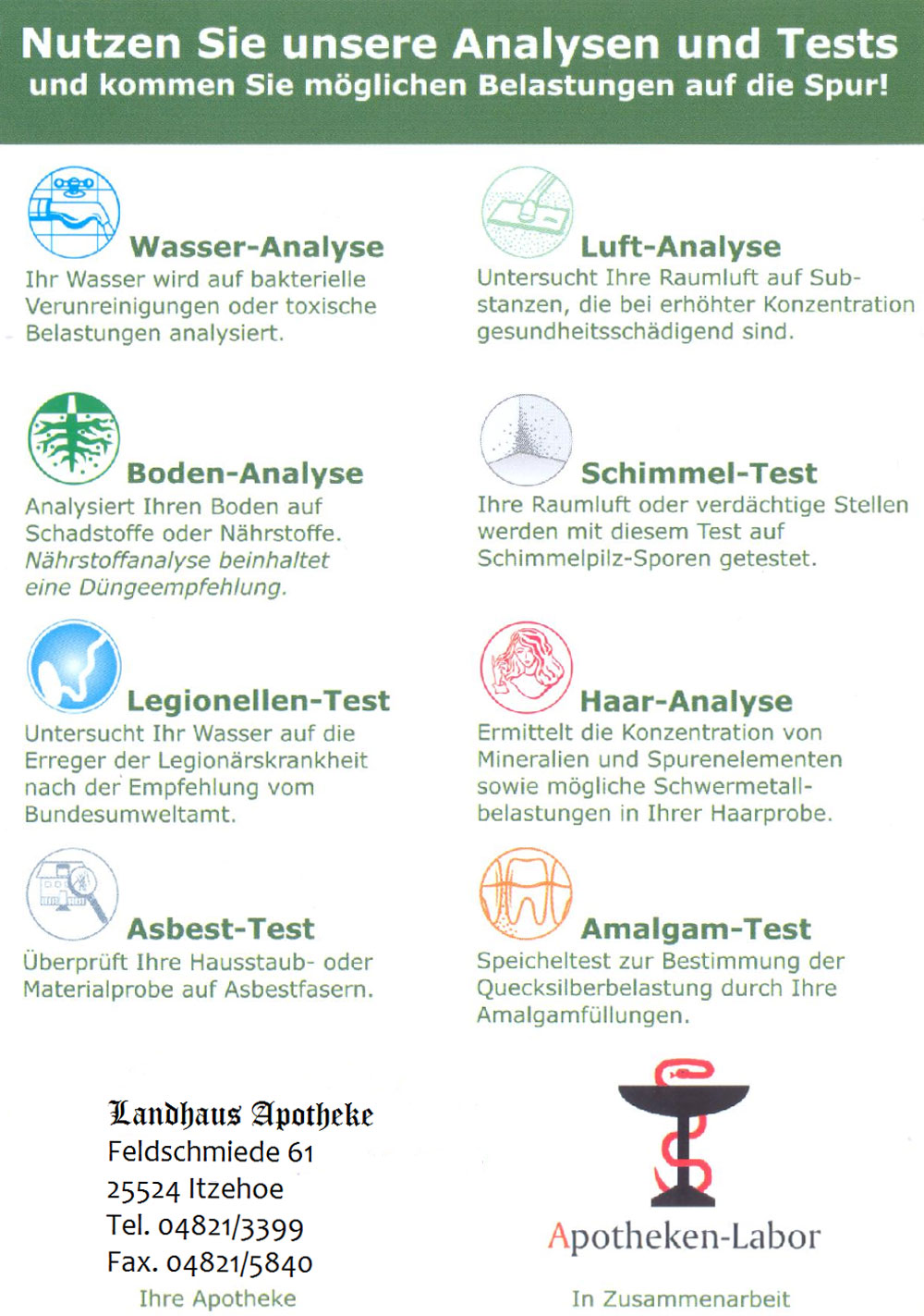 Laboruntersuchungen mit Ihrer Landhaus-Apotheke